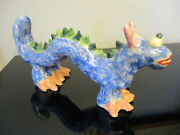 French Whimsical Art Pottery Plaster Dragon Sculpture Statue Signed Ft France
