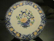 Vintage Asian Chinese Export Style Peacock And Flowers Cobalt Porcelain 10 Plate