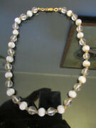 Vintage Art Deco Pools Of Light Crystal Orbs Murano White Glass Choker Necklace