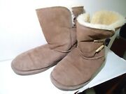 Bearpaw, Abigail, Women's Brown Suede Leather Boots Sherpa Lined 9m