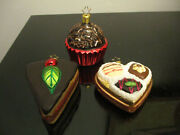3 Vintage German Glass Christmas Ornaments Cupcake Pie Chocolates In A Heart