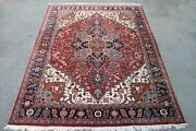 20 Year Old Fine Hand Knotted Ethan Allen India Heriz Pattern Rug Carpet 9 X 12