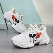 Disney Women Sneakers Lace-up Round Head Waterproof Casual Sports Shoes Freeship