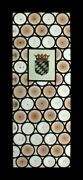Awesome French Rondels With Painted Crown Antique Stained Glass Window