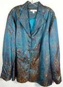 Coldwater Creek Plus Size 3x Blue Gold Brocade Tunic Jacket