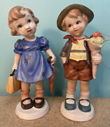 Vintage Porcelain Figurines Little Girl And Boy Leaning Heads Made In Japan Wales