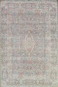 Antique Muted Floral Kirman Handmade Area Rug Evenly Low Pile Wool Oriental 8x11