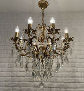 Antique Vintage 8 Arms Cast Brass And Crystals Cherub Chandelier Lighting Lamp