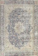 Antique Floral Kirman Distressed Hand-knotted Area Rug Evenly Low Pile Wool 9x12