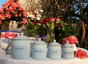 4 Antique Enameled French Canisters Pastel Blue Maybe Bb Freres 1920s Art Deco