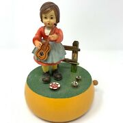 Vintage Music Box Carved Wood Anri Italy Girl With Fiddle/violin And Bird - Euc