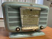 Vintage Art Deco Baby Blue Excelsior Snr52 French Tabletop Tube Radio