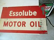 Esso Motor Oil 1948 Single Sided Sign Essolube 17.5 X 10-5/8 Am Signs