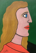 Original John Coble Oil Painting On Canvas Abstract Cubism Portrait Signed