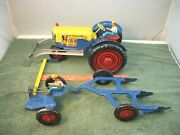 Marx Farm Tractor With Plow And Sickle Mower Pressed Steel