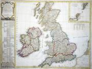 1804 - Huge Antique Map Of Great Britain Ireland Scotland Kitchin Colour Lm4