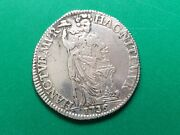 1736 Large Netherlands 1 Guilden Silver Coin. Rare / Nice Patina