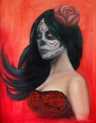 Day Of Dead Red By Jesse Neuman Sugar Skull Death Mask Woman Canvas Art Print