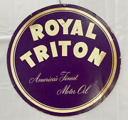 Vintage Royal Triton Motor Oil Double Sided Hanging Sign