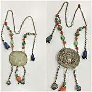 Antique Rare Asian Silver High Caliber Necklace Jade Andcoral Andturquoiseandcloisonne