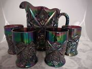 Fenton Water Set Amethyst Carnival Glass Pitcher And 4 Tumblers Star Pattern