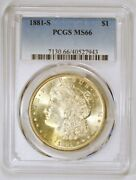 1881 S Morgan Silver Dollar Coin Graded Ms66 By Pcgs With Golden Toning