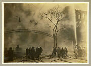 Firefighters Firefighting Firemen In Action Fire Manchester Nh Antique Photo