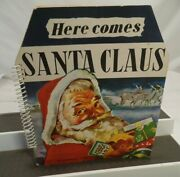 1950 Here Comes Santa Claus Christmas Pop Up Book Westminster Holland Clean