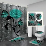 4 In Set Waterproof Shower Curtains Toilet Cover Bathroom Mats Home Decoration