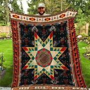 Native American Pattern Washable Quilt Fleece Sherpa Throw Blanket For Bedroom