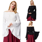Sexy Women's Retro Vintage Gothic Victorian Bell Sleeve Corset Blouse Tops Shirt
