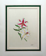 Vintage Chelsea House Watercolor Hand Painted Silk By J. Chen Oriental Lily