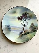 Antique Nippon Wall Plaque Plate Hand Painted Nature Midnight Scene Mark47