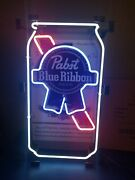 Pabst Beer Can Neon Light Up Back Bar Sign Pbr Game Room Man Cave New