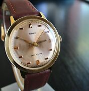 Vintage Timex 1971 Sport Mechanical Wind Up Menand039s Golden Leather Dress Wr Watch