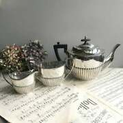 19th Rare Antique Europe Set Of 3 Piece Silver Plated / Teapot /jug /bowl