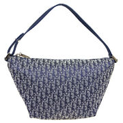 Christian Dior Trotter Pattern Hand Bag Pouch Mc0073 Purse Navy Canvas 80025