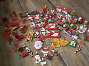 Lot Of 70 Vtg Mini Christmas Tree Ornaments Wood Wooden And Metal Assrand039t Miniature