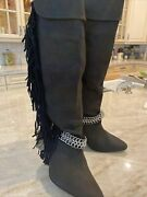 Isabel Marant Boots Knee Lenght,size 9,chain,fringe,very Trendymade In France.