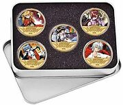 Evangelion Eva Nerv Gold Plated Commemorative Collection Coin Set Tinplate Case