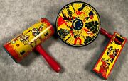 3 Antique 1928 Lithographed Tin Kirchhof Noise Makers Wood Handles New Years Eve