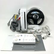 Nintendo Wii White Console Complete Bundle W/ 2 Controllers 2 Wheels And Nunchucks
