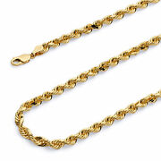 Wellingsale 14k Yellow Gold Solid 4.0mm Solid Rope Chain Necklace