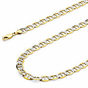 Wellingsale 14k Yellow Gold Solid 7.5mm Mariner Pave Chain Necklace