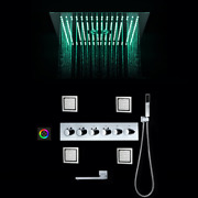 Luxurious Shower Systems 16 Inch Rain Shower Head Panel Led Shower Set Thermosta