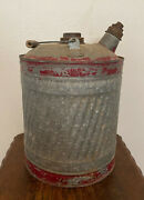 Vintage 5 Gallon Galvanized Metal Gas Can W/ Wood Handle Red Paint - 16