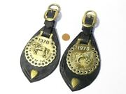 Pair Vintage 1978 Year Of The Horse - Horse Brasses On Leather