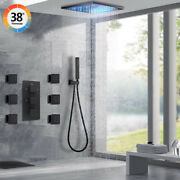 Luxury Black Thermostatic 16and039and039 Rainfall Led Shower Head Combo Set Massage System