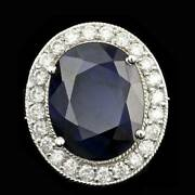Real Solid 14k White Gold 10.5ct Oval Cut Natural Sapphire Diamond Ring