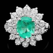 Real Solid 14k White Gold 1.8ct Oval Cut Natural Emerald Diamond Ring
